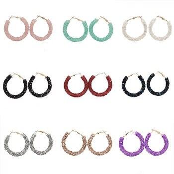 2019 nuevos pendientes de aro de cristal de moda para las mujeres colorido círculo redondo Bling pendientes fiesta de bodas brincos al por mayor