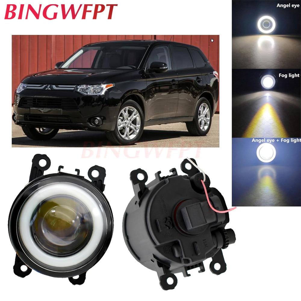 2pcs NEW Car Styling Angel Eyes Front Bumper LED Fog Lights With Len For Mitsubishi Outlander 3 For Mitsubishi Triton Strada
