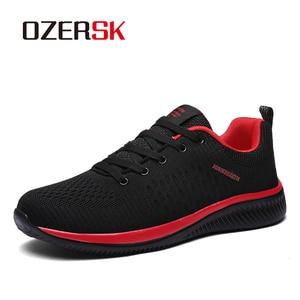 Image 1 - Ozersk 2020 Merk Mannen Casual Schoenen Ademende Lace Up Wandelschoenen Lichtgewicht Comfortabele Mesh Mannen Sneakers Schoenen Maat 39 ~ 45