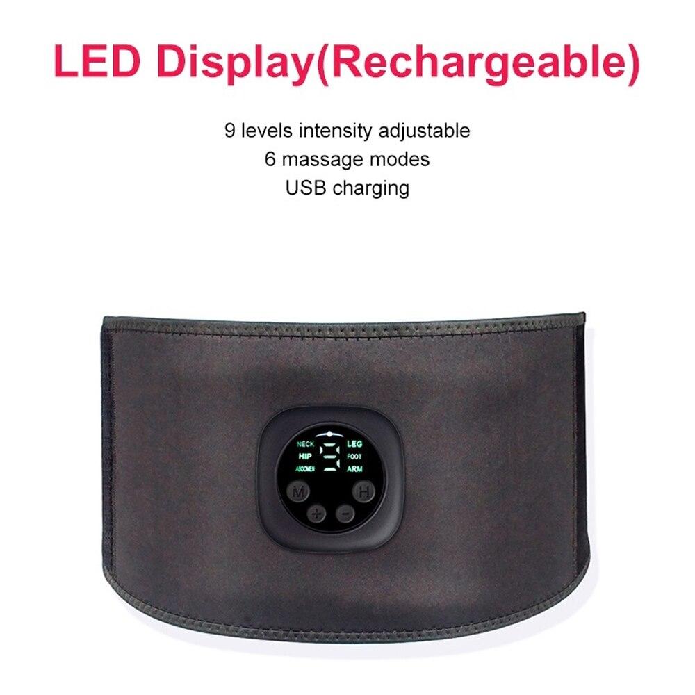 USB Rechargeable Intelligent EMS Abdominal Belt Fitness Trainer