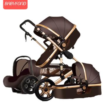 Newborn Baby Stroller 3 in 1 High Landscape Carriage Luxury Travel Pram Basket quality Stroller Baby Car seat Hot Sale Upgrade! 7