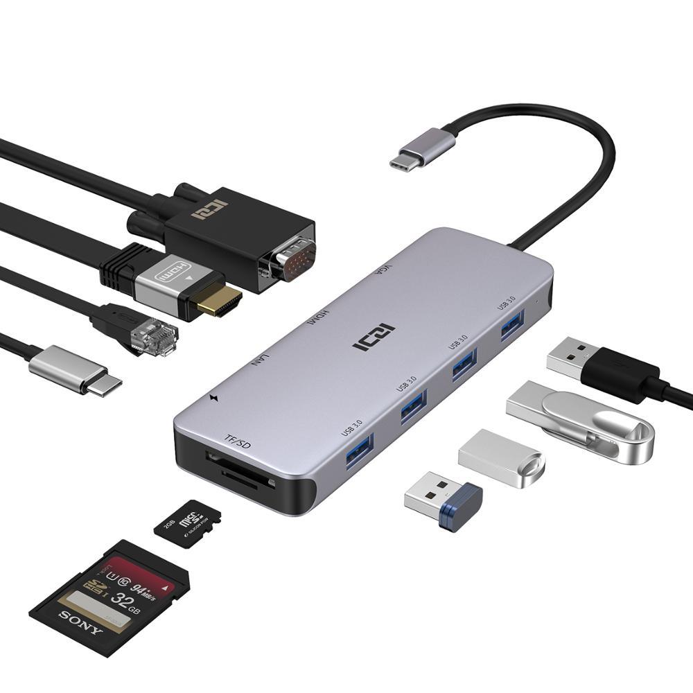 Iczi usb c hub 10 em 1 tipo c para 4 k hdmi vga usb 3.0 leitor de cartão conversor de potência rj45 para macbook 2018 samsung s10 huawei p30