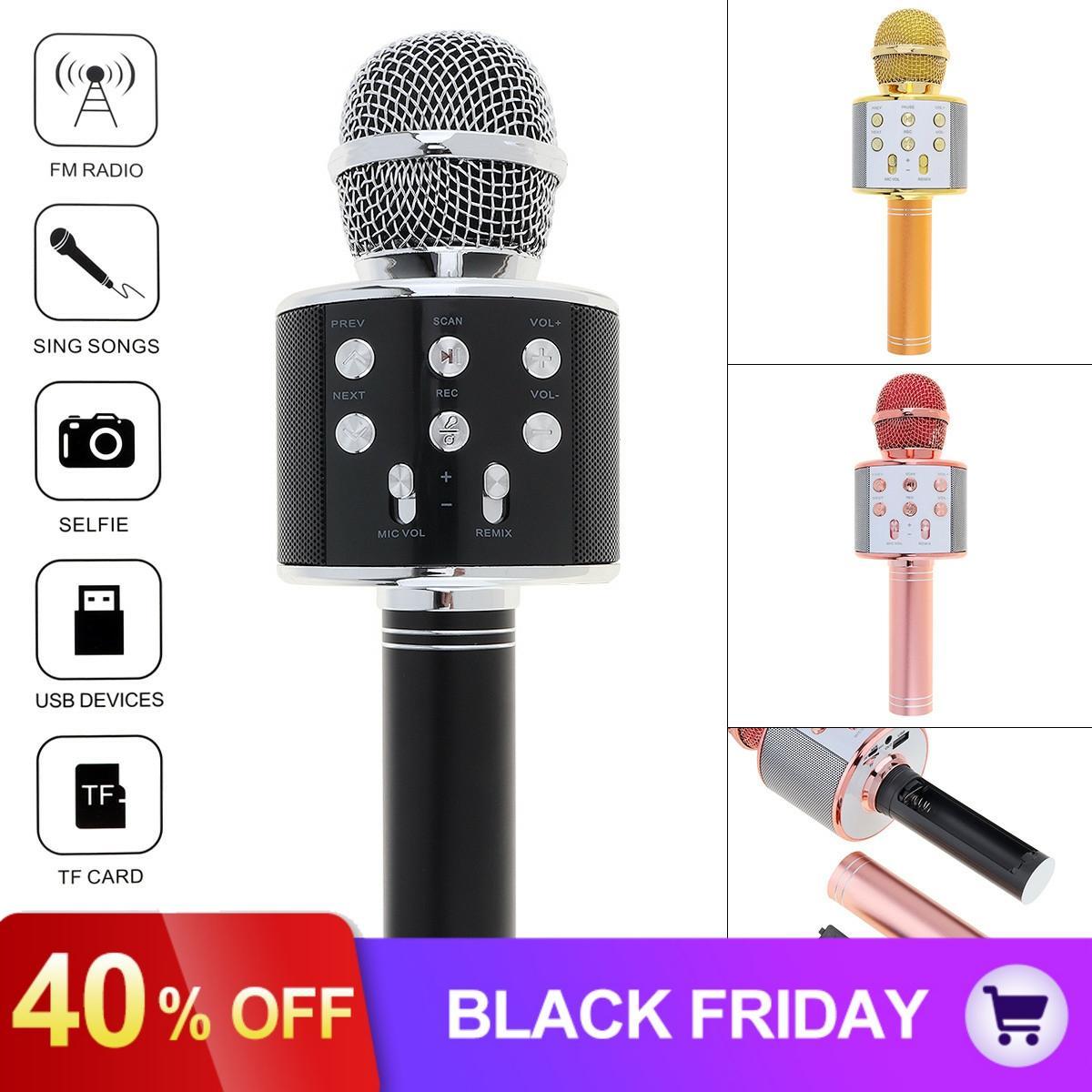 WS858 Professional Bluetooth Wireless Microphone Handheld Hifi Speaker Microphone Karaoke KTV Singing Recorder Mic Music Player