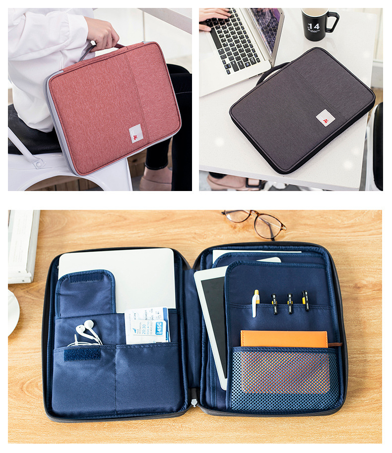 Passport Covers Multi-functional A4 Document Bags Waterproof Oxford Cloth Organized Tote For Notebooks Pens Computer Stuff