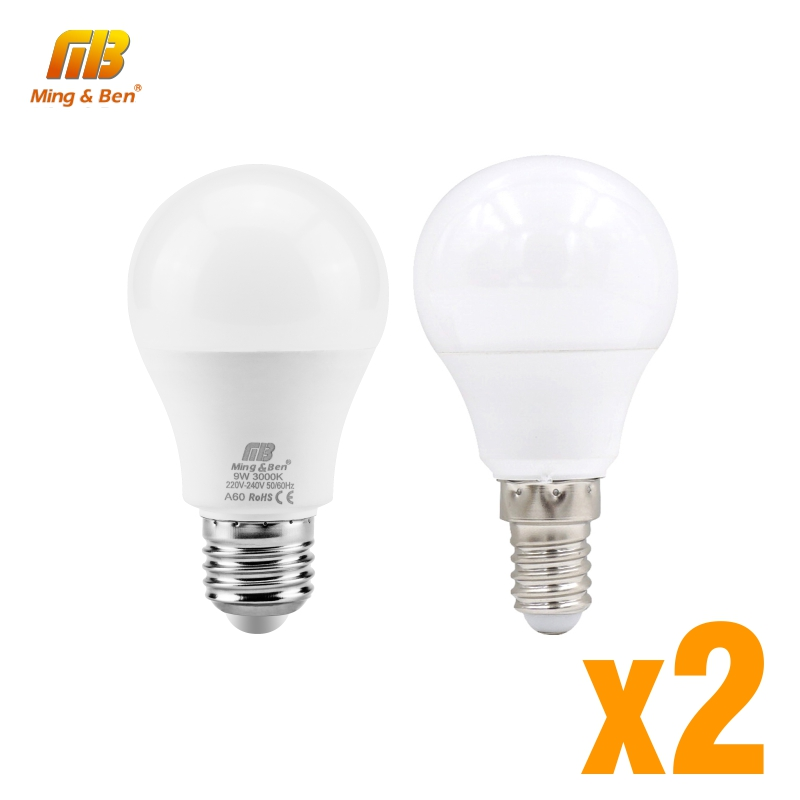 2PCS LED Lamp E14 3W <font><b>5W</b></font> 7W 9W 12W 15W 18W E27 LED Light <font><b>Bulb</b></font> Smart IC Real Power For Living Room Bedroom Home Lighting Bombillas image