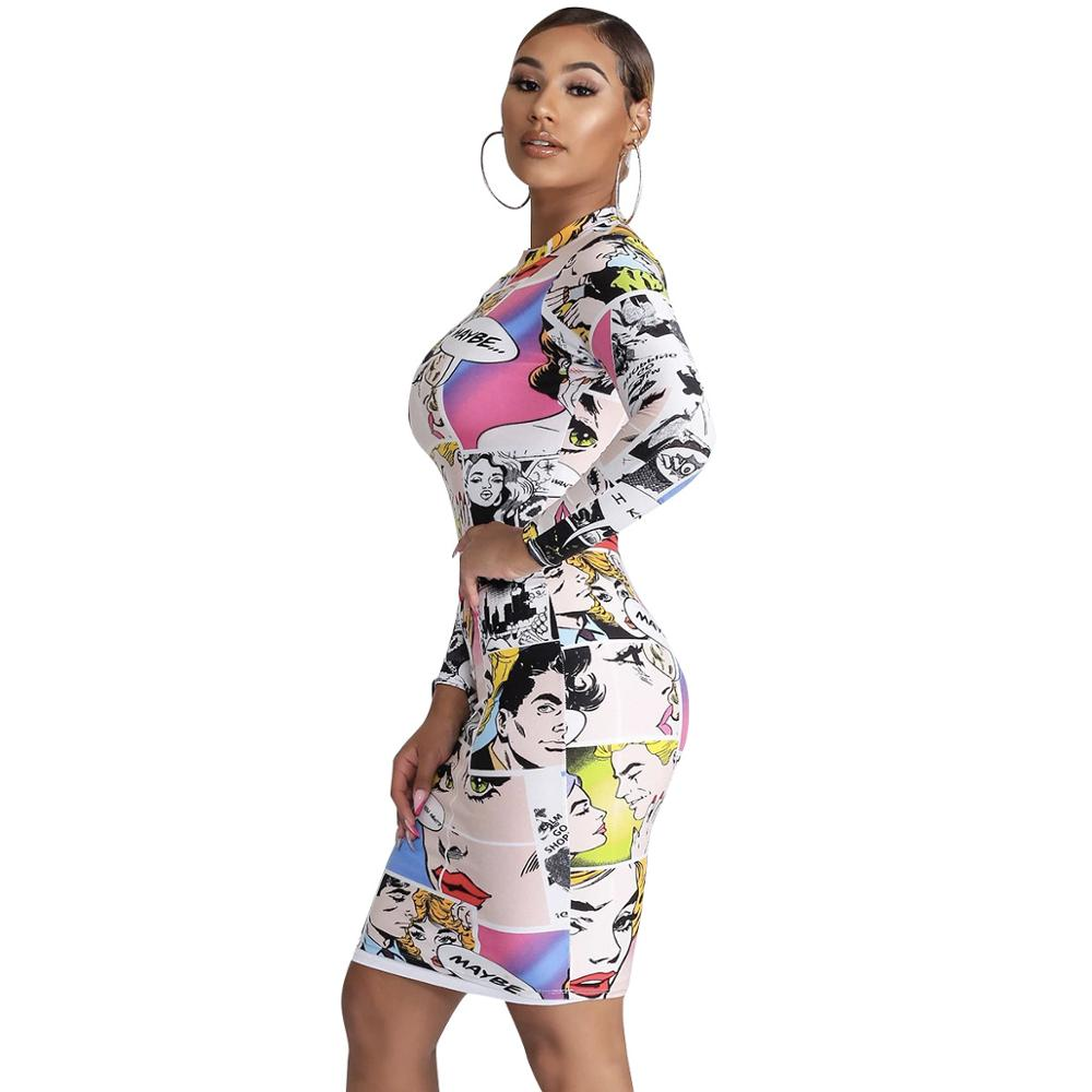 2020 New Women Dress Funny Print Long Sleeve O Neck Bodycon Sexy Dress