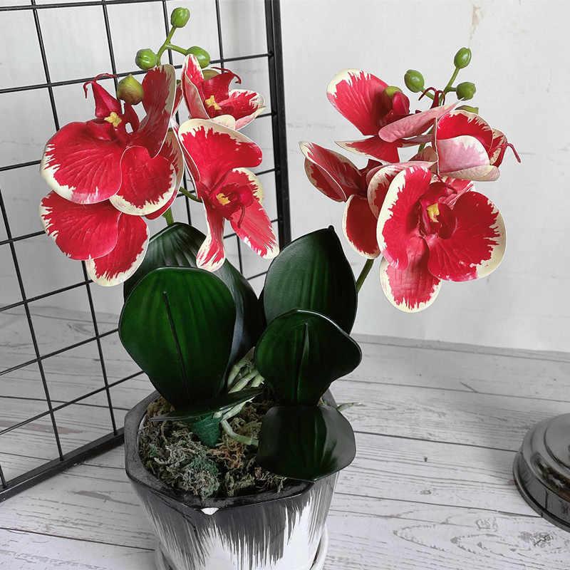 4 cabezas/rama orquídea mini rama con tallo hojas y flores artificiales mariposa orquídea para el hogar boda decoración flores