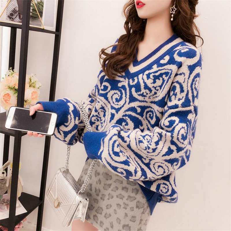 2019 Autumn And Winter Retro Ethnic Style V-neck Long-sleeved Sweater Women's Head College Wind Knit Top