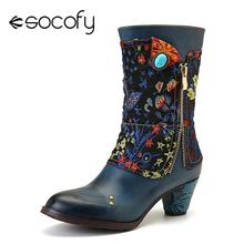 SOCOFY Retro Boots Flower Branch Pattern Stitching Genuine Leather Boots Ladies Shoes Women Botines Mujer 2020 cheap Cow Leather Mid-Calf zipper Floral SKUD07973 Adult Spike Heels Basic Round Toe Spring Autumn Rubber High (5cm-8cm) Slip-On