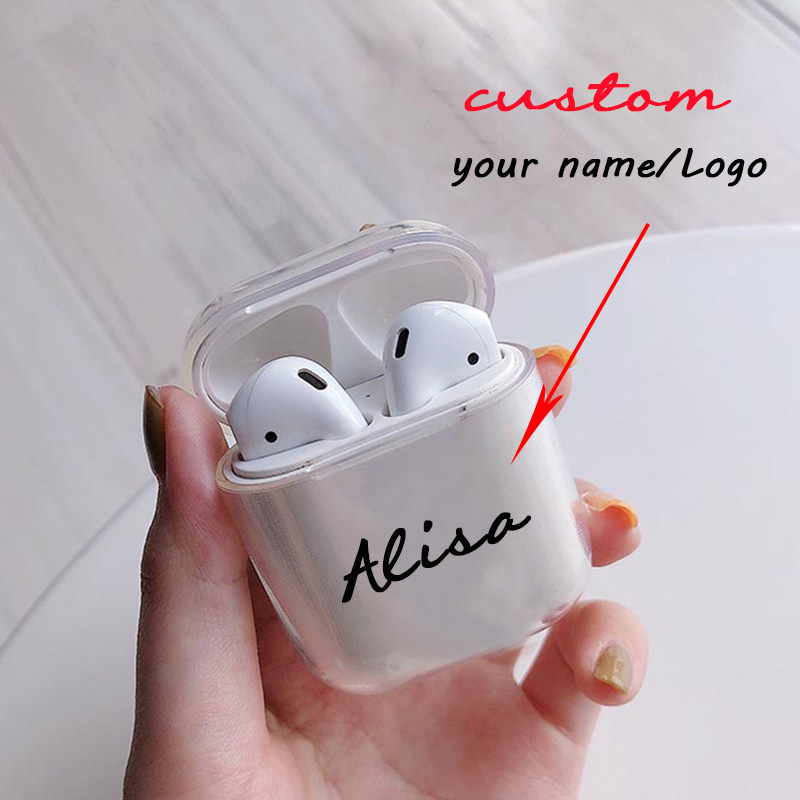 Custom Name/logo/image Soft Silicone Case For AirPods Case For Bluetooth Wireless Airpod Cover DIY Customized Photo Letters Hot