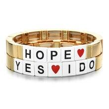 ZMZY Boho золотые буквы надеюсь бусины браслет эластичный оптом богемные радужные браслеты для женщин ювелирные изделия навсегда подарок