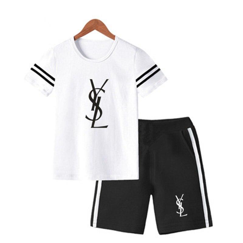 Short Sleeve Spring Summer Kids Clothes Suit Boys T-shirt+ Shorts 2pcs/Set Kids Teenage Top Sport Children's