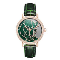 2020 New Davena Stereo Leopard Face Quartz Watch Woman Full Diamond Bracelet Watch Lady Leather Strap Top brand Clock Waterproof