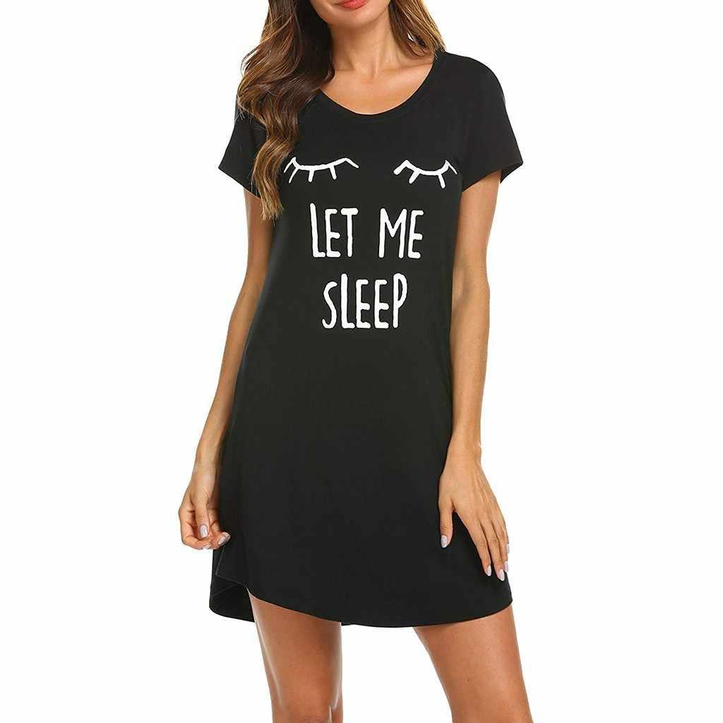 女性セクシーなホームサービスレディース半袖カジュアルoネックの漫画の快適な寝間着ドレス # es