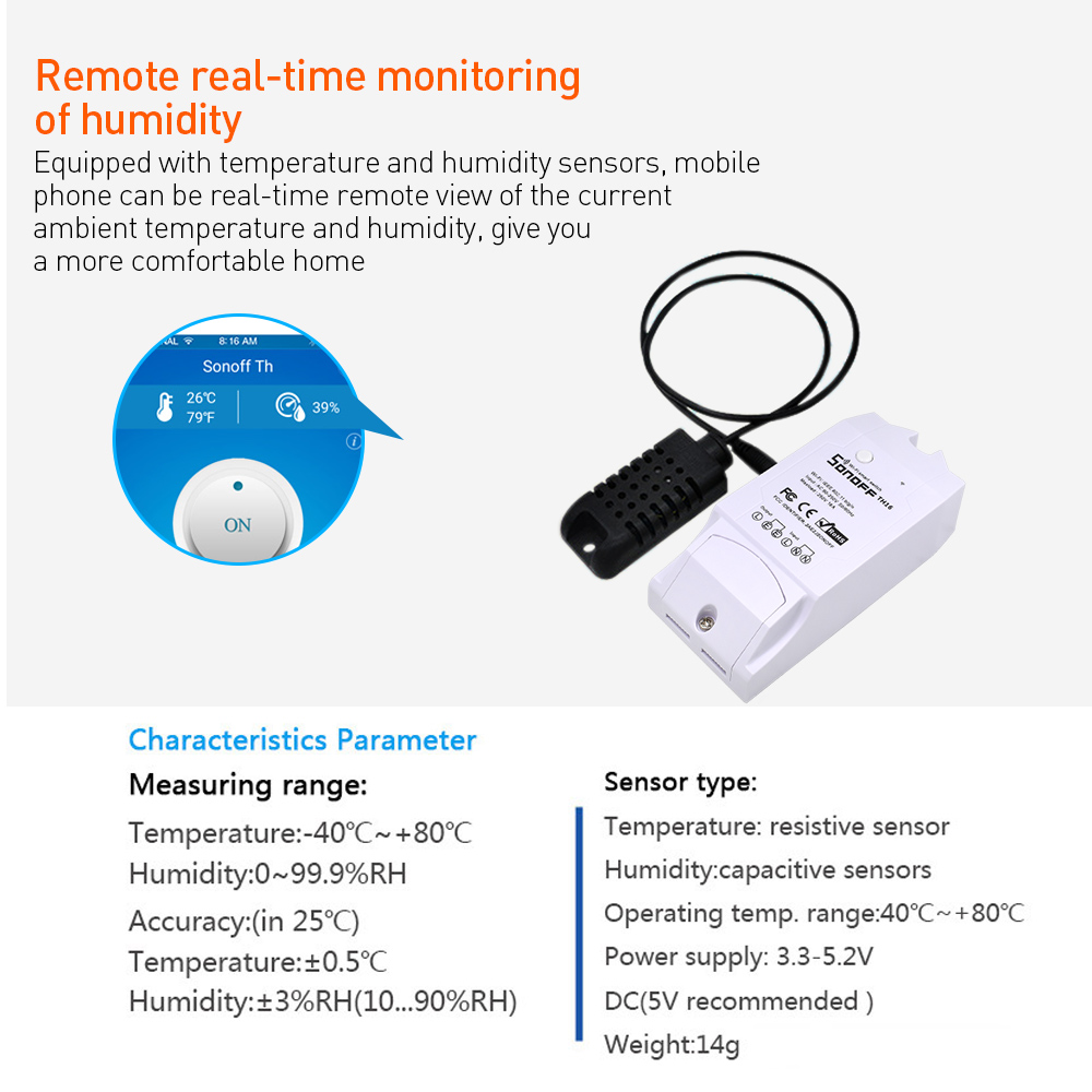 Sonoff TH16 Relay Module Smart Home Wifi Switch Humidity Sensor Temperature Monitor Works With Alexa Google Home 3