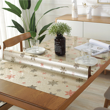 PVC Tablecloth Waterproof Glass Kitchen-Pattern Rectangule Solid-Color Mat Opaque