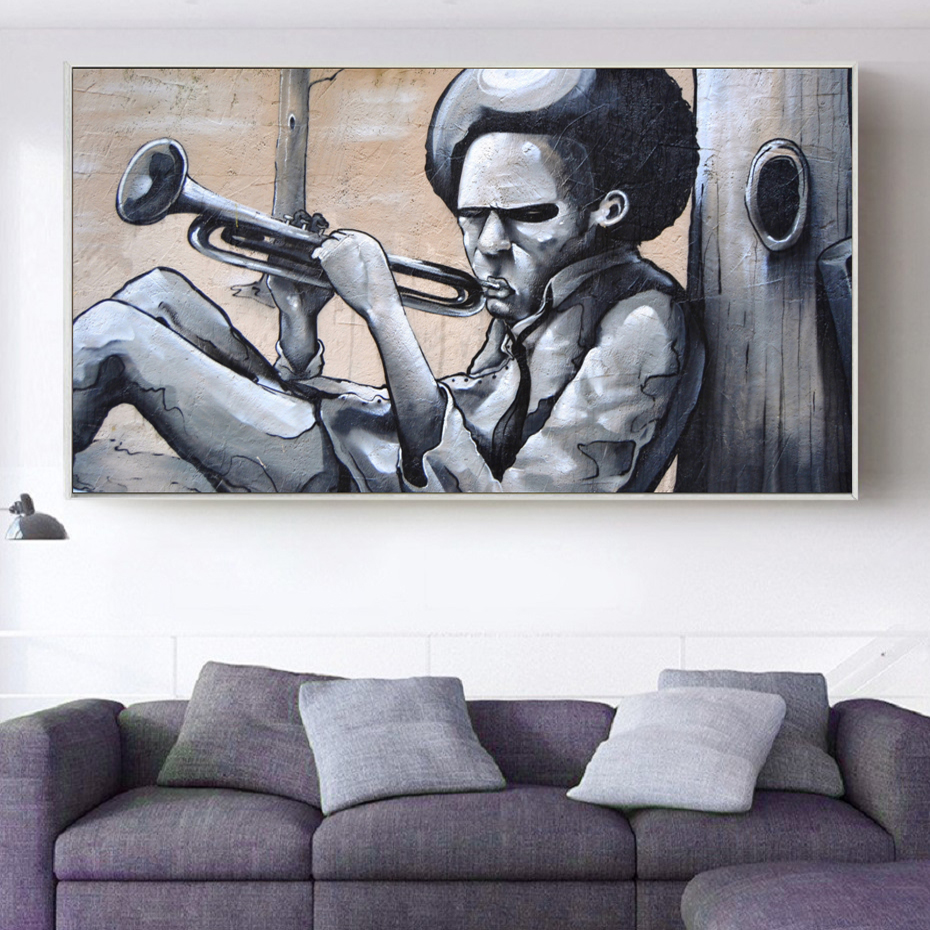 Graffiti Playing Trumpet Banksy Figure Paintings Pictures Wall Art Canvas