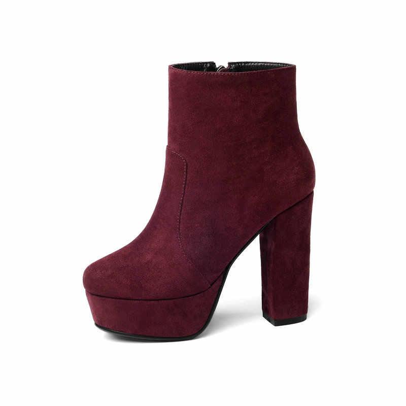 Siyah Sarı Kırmızı Sonbahar Kış Kadın Yüksek Topuklu yarım çizmeler Platformu Süet Tıknaz Topuklu kısa çizmeler Fermuar Bayanlar Boot Ayakkabı