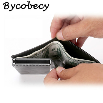 Bycobecy Men Credit Card Holders  Fashion Business RFID Credit Card Aluminium Case Automatic Bank Card Purse Smart Mini Wallets 1
