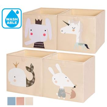 Cute Creative Customize Cube Folding Storage Box For Kids Toys Organizer Wash Able Nursery for Children Storage Bins 3 Color