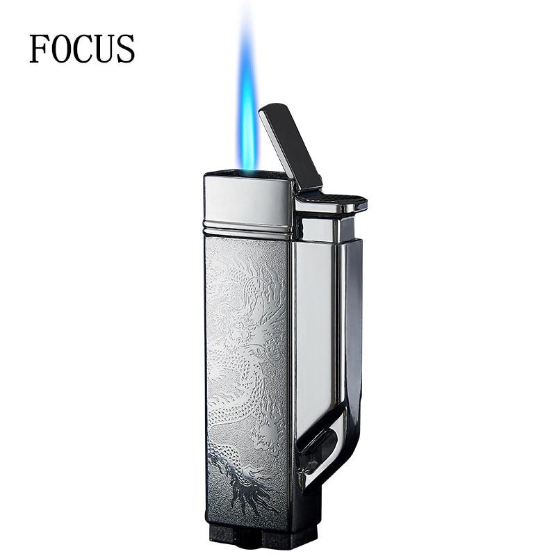FOCUS MINI Cigarette Butane Gas  Lighter Keychain  Cigar Flame Windproof Lighter  BBQ Kitchen Smoking Accessories
