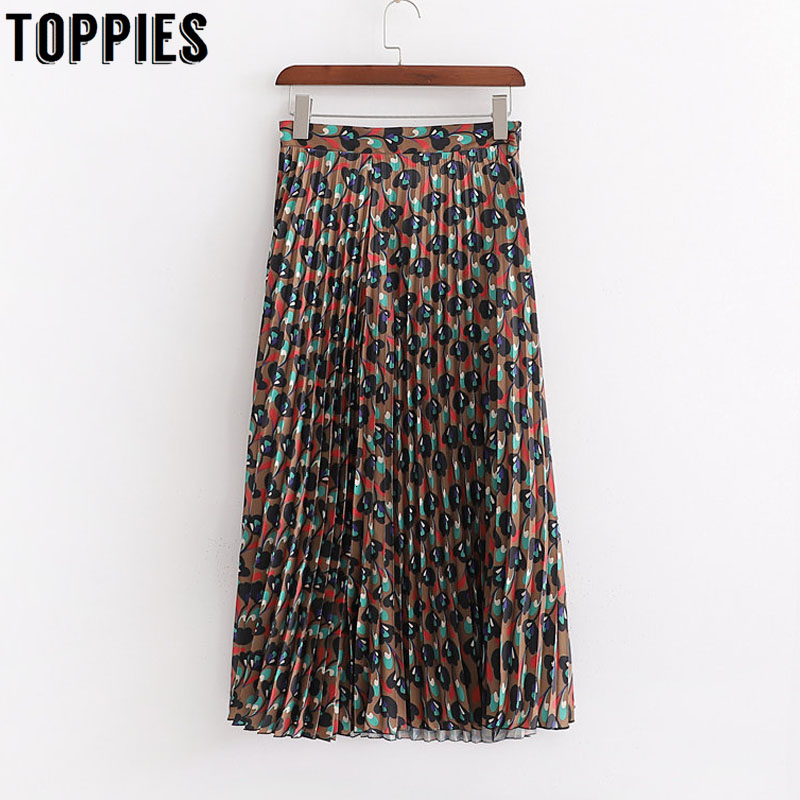 Irregular Printing Pleated Skirts 2019 Women Long Skirts High Waist European Fashion Faldas Streetwear