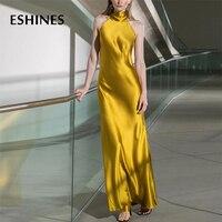 ESHINES Summer Vintage Luxury Yellow Party Long Dress Elegant Halter Satin Off The Shoulder High End Designer Dress