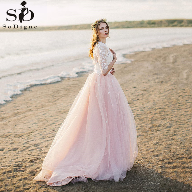Sodigne Romantic Applique Floral Princess Wedding Dresses Two Piece Tulle Pink Bridal Dress Beach Short Sleeves Wedding Gown