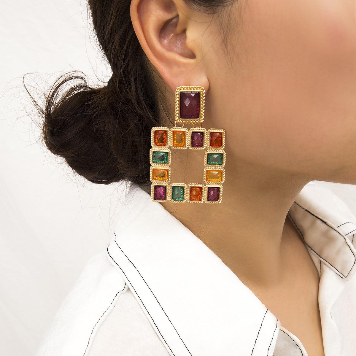 Bohème grand carré Vintage boucles d'oreilles goutte pour les femmes mode déclaration boucles d'oreilles Bijoux cadeau accessoires Bijoux en gros 1