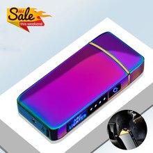 Elektrikli Metal çakmaklar rüzgar geçirmez çift ark plazma şarj edilebilir USB çakmak tek kullanımlık sigara çakmak erkekler için araçlar