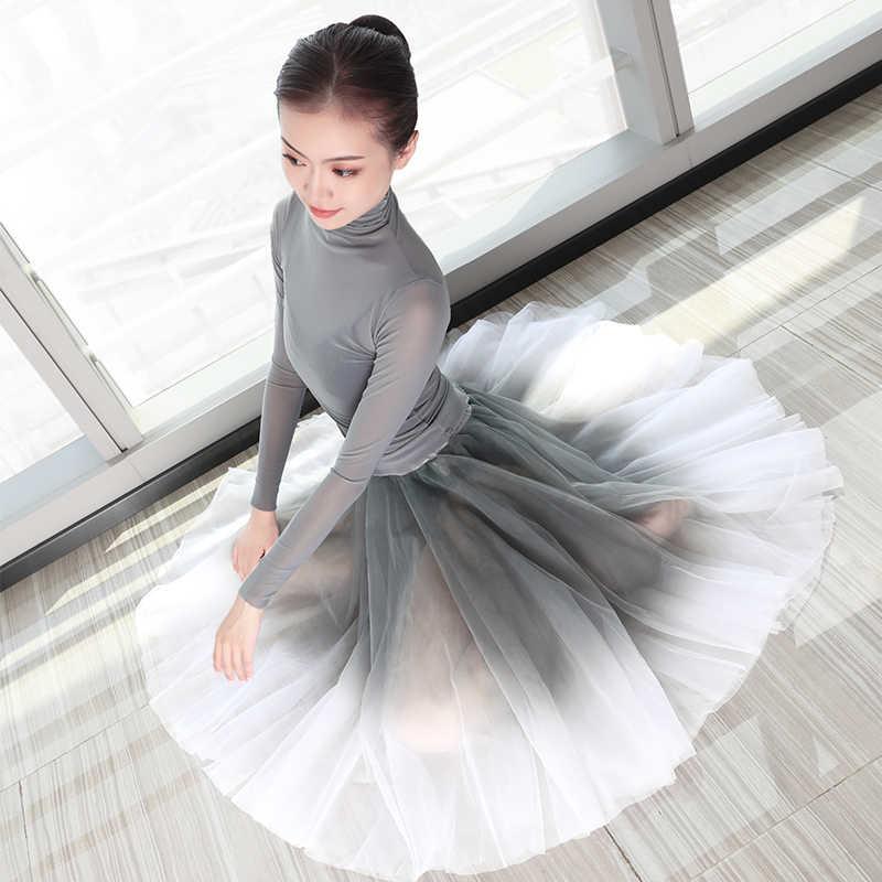 สินค้าใหม่บัลเล่ต์กระโปรงชุดผู้หญิงผู้ใหญ่ Lyrical Dance กระโปรงยาวชีฟองกระโปรง 2 ชิ้นชุดเต้นรำสำหรับบัลเล่ต์