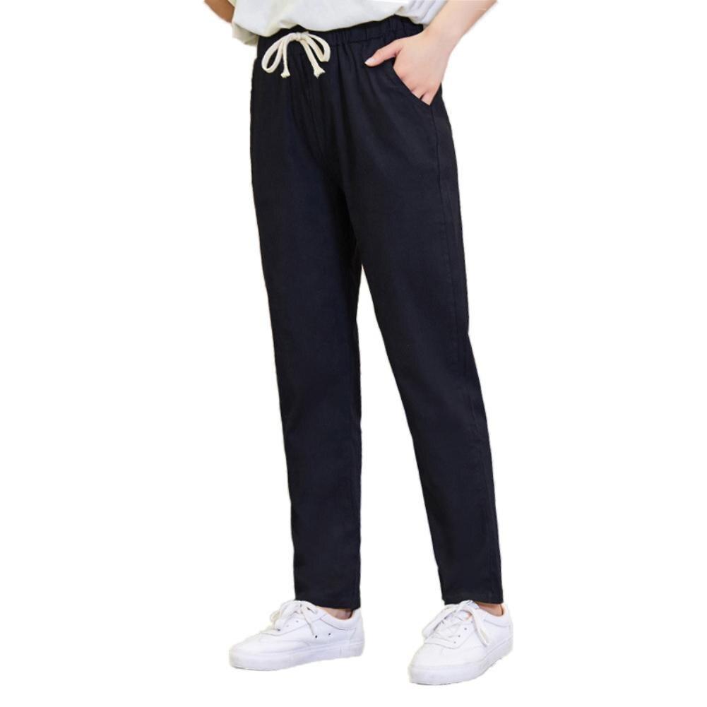 Solid Color Women Linen Drawstring Pockets Loose Trousers Ninth Harem Pants 2020