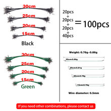 100Pcs With 20pcs for 20/25/30cm and 40pcs 15cm Anti Bite Steel Fishing Line Wire Leader Leash