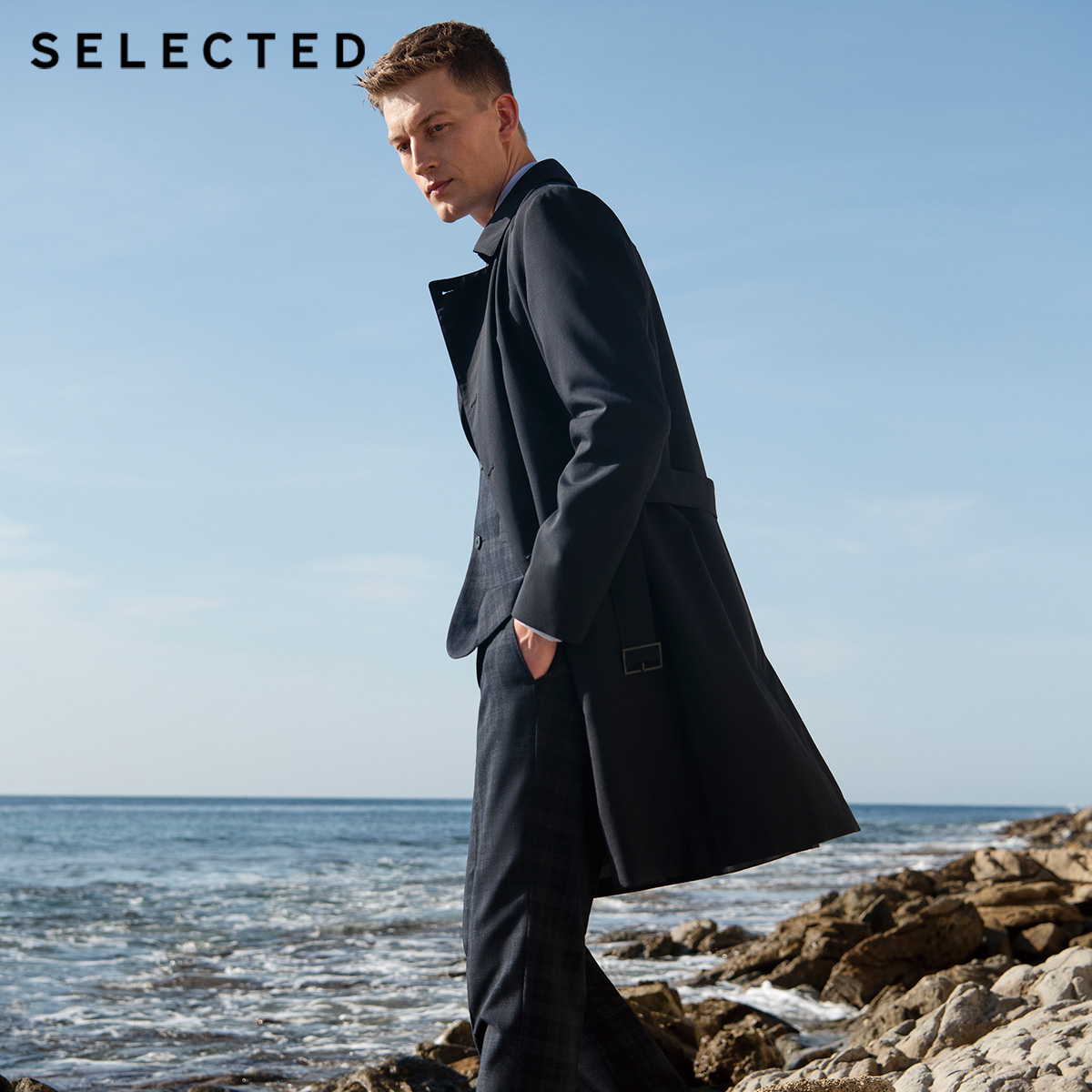 SELECTED Men's Spring Regular Fit Medium Length Woolen Coat T|4191OM535