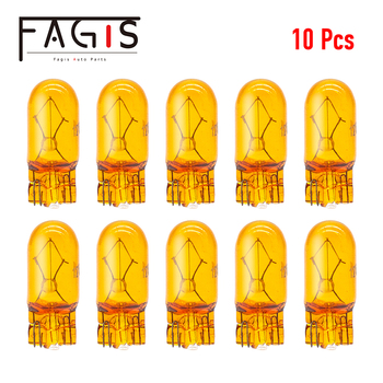 цена на Fagis 10pcs Car T10 W5W Original Halogen 194 12V 5W Natural Amber Signal Lamp Yellow Instrument Light Reading Light