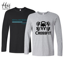 Hanhent Grappig Ontwerp Tee Shirt Mannen Bodybuilding Lange Mouwen T-shirt Volledige Casual Shirt Katoen Tops Camiseta Hombre Manga Larga(China)