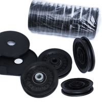 1 Uds gimnasio polea de rodamiento 90mm resistente al desgaste de Nylon polea de rodamiento de rueda de Cable Universal Fitness goma polea de rodamiento de equipos de Fitness