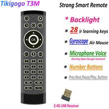 Retroiluminación T3M 2,4G Gyro Air Mouse 28 IR, aprendizaje, búsqueda por voz de Google para caja de Smart TV de Android PK G30s G20S Pro, mando a distancia