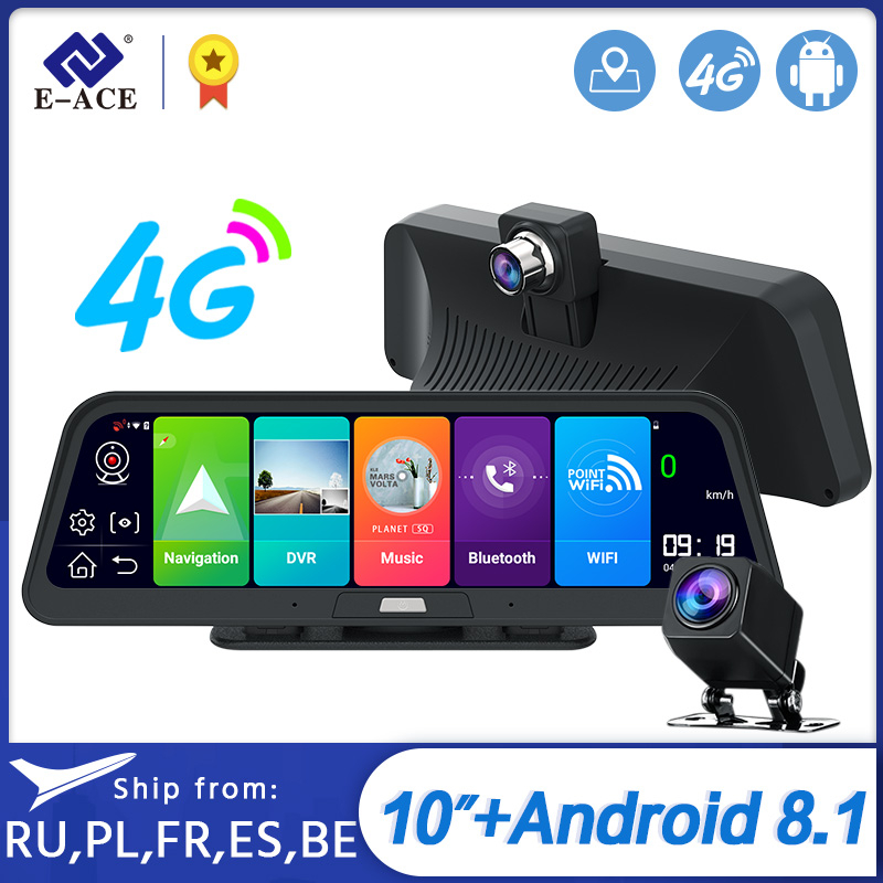 E-ACE <font><b>Car</b></font> <font><b>Dvr</b></font> <font><b>Camera</b></font> 4G 10 Inch Android 8.1 GPS Navigation FHD 1080P Auto <font><b>Camera</b></font> Video Recorder <font><b>ADAS</b></font> Remote Monitor Dash Cam image
