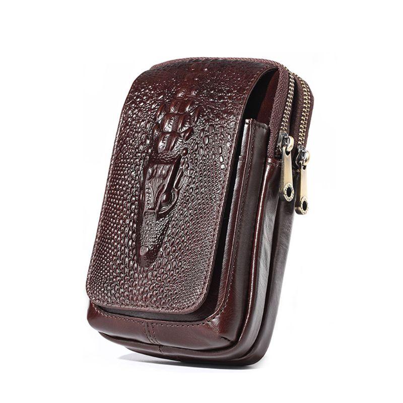 Men Vintage PU Leather Waist Bag Belt Hook Loop Holster Carry Male Phone Pouch Wallet Case