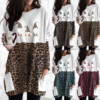 40# Plus Size Women Blouse Sexy Leopard Patchwork Loose Blouse Long Sleeve Christmas Printed O-neck Tops Tee Shirt Plus Size 5