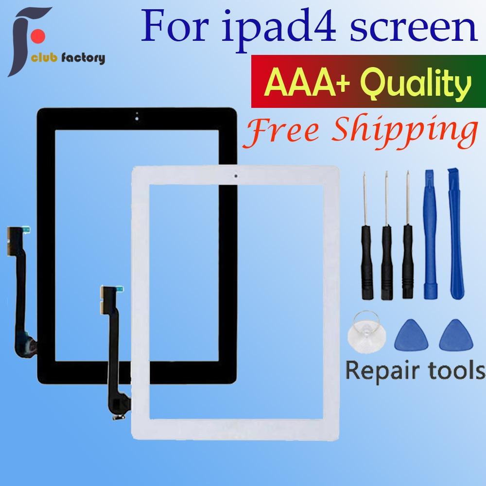 1 pçs para apple ipad 4 digitador da tela de toque e botão casa frente display vidro painel toque a1458 a1459 a1460 com ferramentas