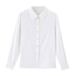 Image 5 - אינמן אביב חדש הגעה לבן צבע רטרו מינימליסטי כל מתאים להנמיך צווארון יחיד חזה Loose סגנון נשים למעלה חולצה