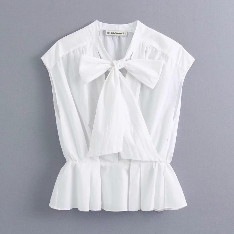 2020 New Women Fashion Bow Tied Decoration Casual Poplin White Blouse Office Lady Hem Ruffles Shirt Feminina Chemise Tops LS6482