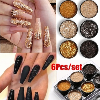 6 Pcs/set Shiny Silver Glitter Sequin Black Glitter Powder Nail Art DIY Powder Dust Fairy Dust Makeup Manicure Nail Decoration 1box mirror nail powder rose gold champagne silver metal effect glitter nail powder nail glitter dust decoration