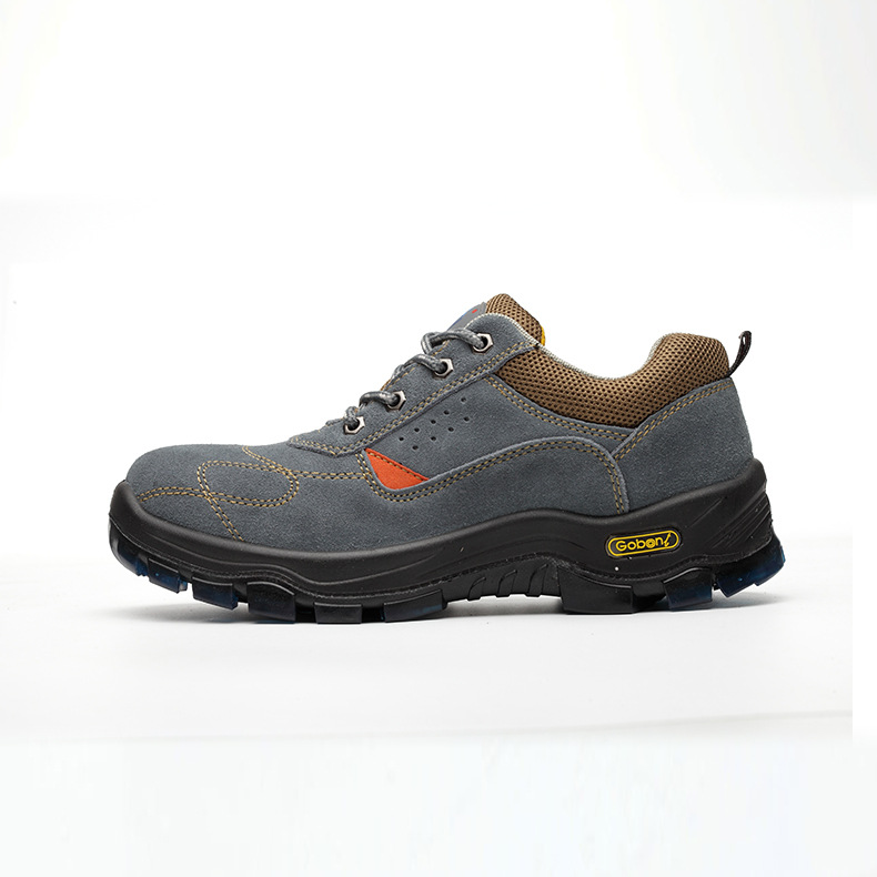 Gu Bont Suede Anti-smashing And Anti-penetration Steel Head Protection Sport Boots Low Top Electric Welding Safety Shoes Gray