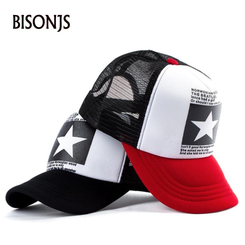 BISONJS 2020 пятиконечная звезда вышитая сетка бейсбольная кепка мужская уличная летняя Солнцезащитная шляпа Женская полый дизайн хип-хоп бейсб...