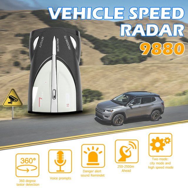 VODOOL Car Radar Detector English Russian Voice Warning Alarm Alert Digital tube display Car Anti Radar Detector X K Band