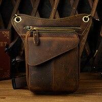 Motorcycle Waist Leg Bag Crazy Horse Genuine Leather Waist Belt Bag 884 Leather Hip Bag Steampunk Bag