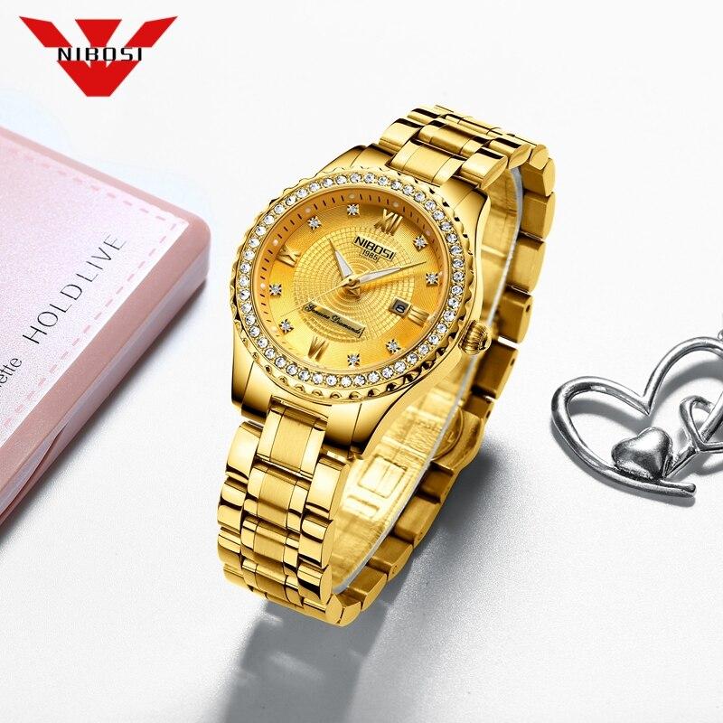 NIBOSI Fashion Women Watches Ladies Top Brand luxury Waterproof Gold Quartz Watch Women Stainless Steel Date Wear Gift Clock